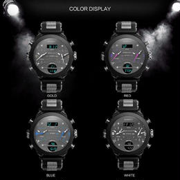 2018年最新作 メンズ 腕時計 BOAMIGO ブランド 3タイムゾーン ミリタリースポーツ LEDデジタルクォーツ ギフトボックス レロジオ