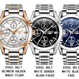 海外ブランド LIGE メンズ腕時計 トップブランド ファッション クォーツ フルスチール カジュアル スポーツ ギフト