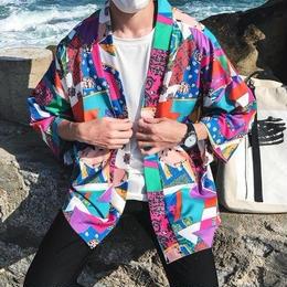 今年の夏 大流行の柄シャツ  古着風
