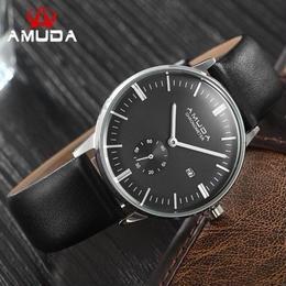 メンズ腕時計 ブランド Amuda カジュアルスポーツ ブルーフェイスファッション 本革ストラップ ミリタリー