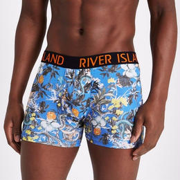 【XS~XLから選択可能】 River Island ブルーボタニカルプリントボクサーパンツ5枚組