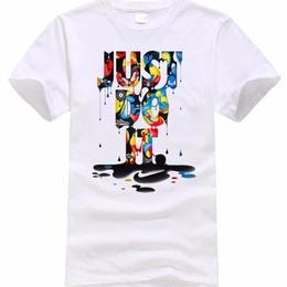 ヒップホップ レタープリント 半袖tシャツ just do it ペンキ風