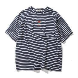 薔薇のワンポイントボーダーTシャツ  コットン生地 超人気商品