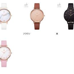 レディース腕時計 トップブランド Shengke 日本未入荷 ファッション レザー クォーツ カジュアルストラップ 大理石ダイヤルSK