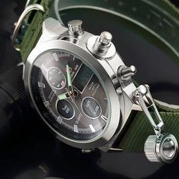 メンズ スポーツ腕時計 ナイロンストラップ デジタルアナログ ミリタリー 防水 LED