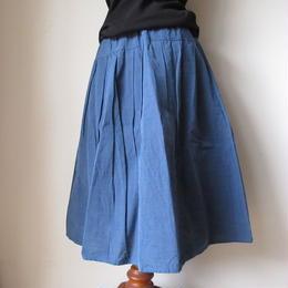 会津木綿のタックスカート -ブルー- / yamma