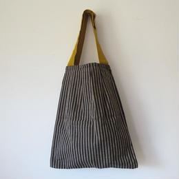 会津木綿のタック入りバッグのキット(黄色)
