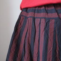会津木綿のタックスカート -おさむ縞- / yamma