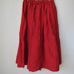 リネンギャザースカート(赤) / yamma