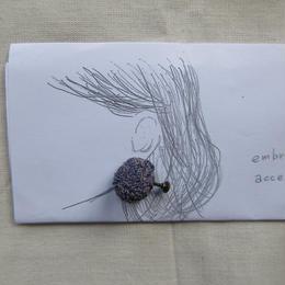 ラフィアの刺繍キット  / 耳飾り   -薄紫-