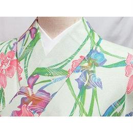 洗える化繊 【小紋袷着物】148cm前後の方ベスト★淡緑 ペールグリーン