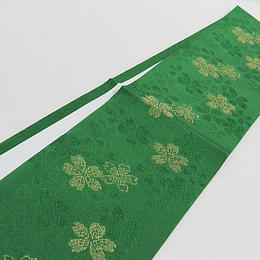 【広衿 重ね襟】着付け小物 正絹 広衿 重ね衿/金通し 桜☆グリーン