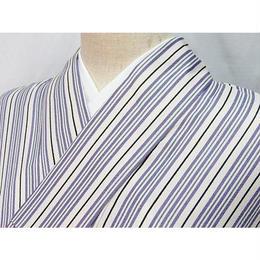 洗えるキモノ 化繊【小紋 単衣 着物】縞/143cm前後の方ベスト★白 紫他