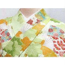 洗える化繊【小紋袷着物】扇面 楓 梅/150cm前後の方ベスト★ペールグリーン
