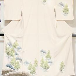 【附下げ】袷着物 縮緬/森林絵図/157cm前後ベスト★クリーム【美品】お薦めです