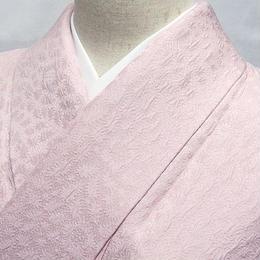 【色無地】袷 1つ紋/紋綸子 共八掛/ピンク系☆156cm前後ベスト【美品】