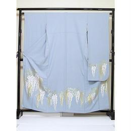 リサイクル【振袖】【正絹】綸子/高級 寿光織/ライトブルー/藤☆159cm前後の方【美品】お薦めです