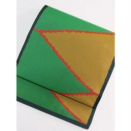 【織 袋帯】オシャレ袋帯/墨グリーン【美品】