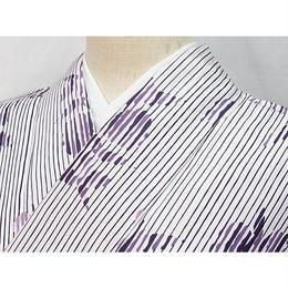 洗えるキモノ 化繊【小紋 単衣 着物】縞に洋花 水玉/144cm前後の方ベスト★白 紫