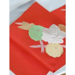 【名古屋帯】八寸名古屋 洗える帯 紅葉/菊☆朱赤