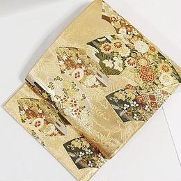 【未使用】【錦 袋帯】地紙に吉祥四季花文/ゴールド【美品】