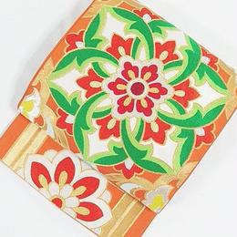 【錦 袋帯】希少丸袋 川島織物セルコン謹製 大蜀江競華文に正倉院文様「繧繝文様」/オレンジ【美品 豪華】お薦めです