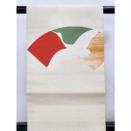 【リサイクル】【綴八寸名古屋帯】白地に金砂子 ★地紙に鶴