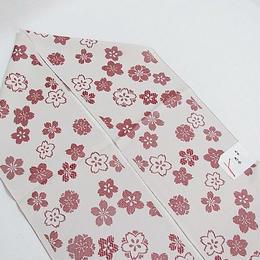 【織り 半えり】正絹 日本製 先染め織物/色衣/桜☆白グレー【新品】メール便可