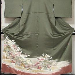 【色留袖】共八掛 正絹 紋綸子 1つ紋 落款入り/波に鴛鴦 松竹梅 深緑暈し☆158cm前後の方ベスト【美品】