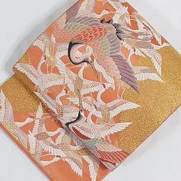 【未使用】【錦 袋帯】千羽鶴/サンゴ色 金【超美品】お薦めです