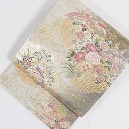 【錦 袋帯】日扇に四季花文様/薄アイボリー 金他【美品】お薦めです