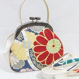 【新品 アウトレット】西陣高級錦帯地使用 キュートな がま口バック草履セット/日本製 赤・金・ブルー☆お薦めです