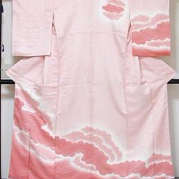 【附下げ】袷着物 雲暈かし/159cm前後ベスト★ピンク濃淡【美品】