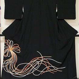 【黒留袖】正絹比翼 豪華な総刺繍 祝い結び紐☆162cm前後の方ベストサイズ【美品】