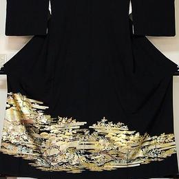 【黒留袖】正絹比翼 金彩友禅 御所絵図☆162cm前後の方ベストサイズ【美品】
