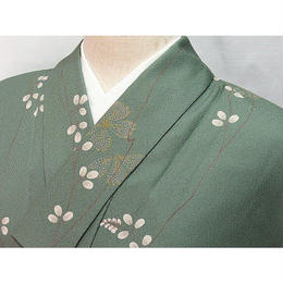 洗えるキモノ 化繊【小紋 袷 着物】萩に桜/150cm前後の方ベスト★緑【美品】