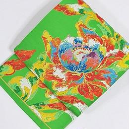 【錦 袋帯】大牡丹唐華文 ラメ糸仕様/グリーン【超美品】お薦めです