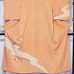 【絞り 附下げ】袷着物 綸子/疋田(鹿の子絞) 小紋箔 刺繍/150cm前後ベスト★オレンジ(あま色)