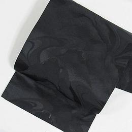 【袷・単衣用】黒共九寸名古屋帯 緞子/波霞に山/黒【美品】
