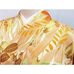 洗える化繊 【小紋袷着物】洋花/158cm前後の方ベスト★オレンジ系