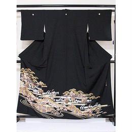 ●さらに!値下げしました20%OFF【黒留袖】 正絹比翼付き 時代絵巻 落款入り ☆158cm前後の方ベストサイズ【美品】
