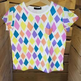 【Caldia】 総柄チビポケTシャツ (WHITE)