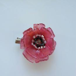 お花のプラバンブローチ(赤いお花Ⅱ)