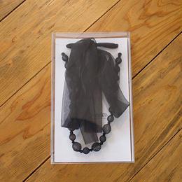 ビーズ&リボン ネックレス(br3/black)