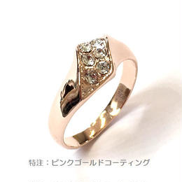指輪 デザインリング ピンクG スワロフスキークリスタル使用 sg◆BR-2392