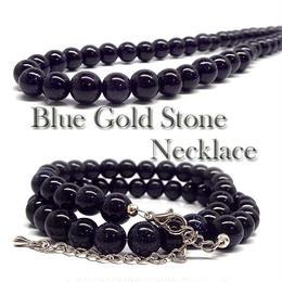 天然石 パワーストーン ネックレス◆仕事運他◆10mm ブルーゴールドストーン 紫金石◆N1-53
