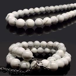 天然石 パワーストーン ネックレス◆健康運◆10mm ホワイト ターコイズ◆N1-20