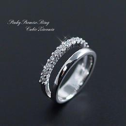 指輪 リング◆小指の指輪!CZダイヤ12石使用 ピンキーリング/3・5・7号◆E-735