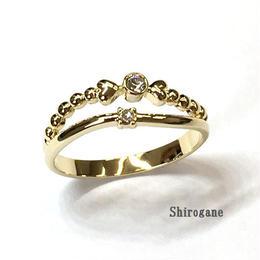 指輪 スワロフスキーツインフレームハートリング ニッケルフリーG  sg◆BR-3859-LG-F