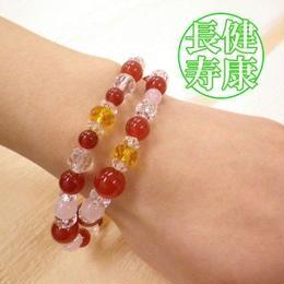 天然石 パワーストーン全体・恋愛運他◆赤メノウ・二重巻ブレスレット HR◆5348